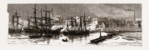 MELBOURNE, FROM A SKETCH MADE IN 1855', 19th century engraving, Australia