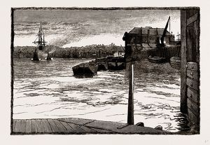 MILLWALL, FROM THE RIVER, UK, engraving 1881 - 1884