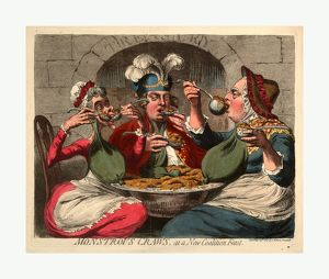 Monstrous craws, at a new coalition feast, Cartoon shows King George, dressed as