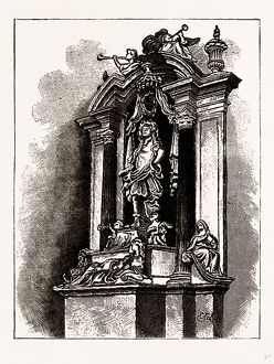 MONUMENT TO SIR J. CHILD, WANSTEAD CHURCH, UK, engraving 1881 - 1884