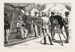 MR. BURKE POSING THE AMEER, THE AMEER YAKOOB KHAN AT GANDAMAK, AFGHAN WAR, engraving 1882