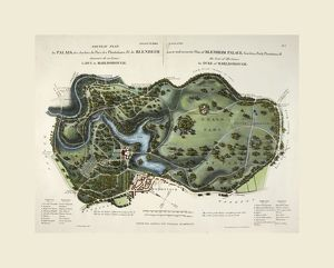 A new and accurate plan of Blenheim Palace, UK, 19th century engraving
