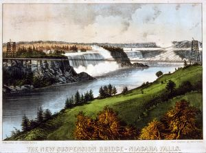 The new suspension bridge--Niagara Falls; Currier & Ives