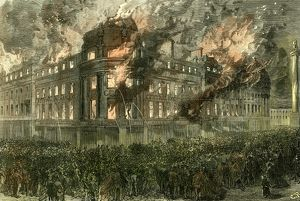 Newcastle On Tyne, U.K., 1867, great fire in the central exchange buildings