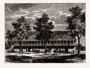 THE OLD STABLES AT SION HOUSE, History of Isleworth, UK, engraving 1881 - 1884