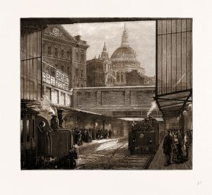 A PEEP AT ST. PAUL'S AND 'THE TIMES' OFFICE FROM UNDERGROUND, LONDON