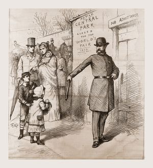 THE PEOPLE'S PLEASURE-GROUND APPROPRIATED, 1880, USA, America, 19th century engraving