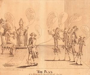 The plan, or a scene in the French cabinet, Sepr. 1779, [London : 1779 Sept.], 1 print