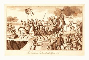 The political cartoon for the year 1775, en sanguine engraving shows George III