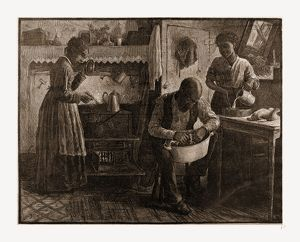 PREPARING THE THANKSGIVING DINNER.-DRAWN BY S. G. MCCUTCHEON, 1880, USA, America