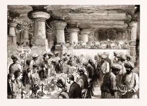 THE PRINCE OF WALES DINING IN THE CAVES OF ELEPHANTA, BOMBAY, INDIA, 1876