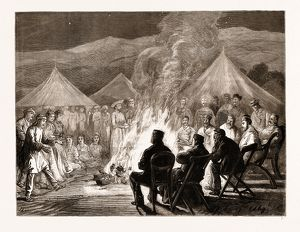 THE PRINCE OF WALES IN THE TERAI: THE CAMP FIRE: THIBETANS DANCING, 1876