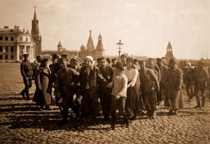 Saturdays volunteers on the 1st of May, Kremlin, Moscow Russia. Bolshevik Festivals
