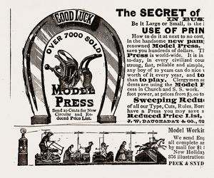 The secret of good luck, 1880, 19th century engraving, USA, America