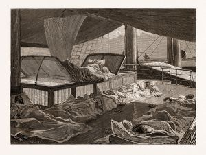 SLEEPING ON DECK IN THE RED SEA, 1876