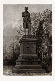 STATUE OF ALEXANDER HAMILTON, CENTRAL PARK, 19th century engraving, USA, America