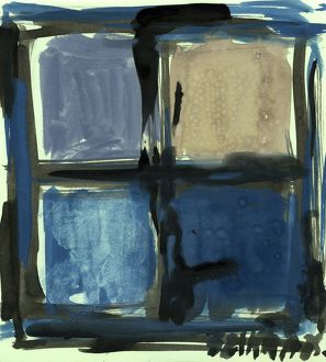 Susan Szikra, abstract expressionism. Shades of blue, Poetic mind, a journey through