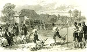 Snow-shoe race at the Crystal Palace; London; U.K.; 1867; London; Great Britain