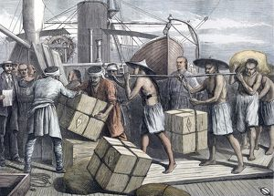 Taking in cargo at Singapore in 1873
