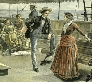 Talk on the Vessel, 1887, Man, Woman, Lady, Gentleman, Ladies, Ship, Boat