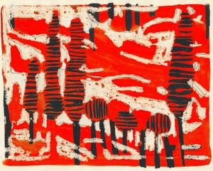Tania Lam, expressionist landscape with trees and red sky