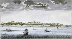 View on Ambon. Mid 18th century map by Jan van Schley