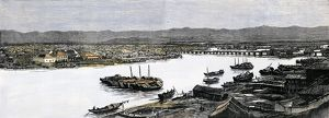 View of Fuzhou in 1884. China in the 19th century