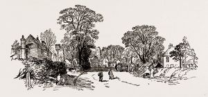 VILLAGE OF EDGWARE, from a Sketch made in 1858, UK, engraving 1881 - 1884