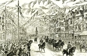 Whitechapel, London, U.K., 1887, Royal procession in High street, East London, horses