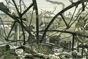 Woolwich Arsenal, London, 1887, damage to the mounting shed carriage factory