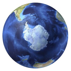 3D rendering of planet Earth, centered on the South Pole