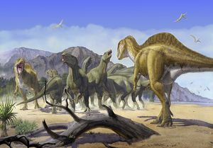 Altispinax dunkeri dinosaurs attack a group of Iguanodon