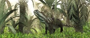An archosaur wanders amidst cycads and ferns in a prehistoric swamp