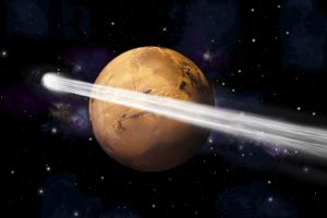 Artist's depiction of the comet C/2013 A1 making a close pass by Mars