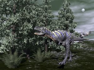 Aucasaurus dinosaur amongst wollemia trees and onychiopsis plants