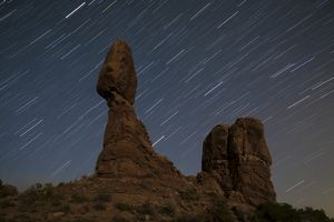 Balanced Rock against a backdrop of star trails, Arches National Park, Utah