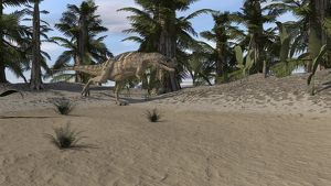 Ceratosaurus hunting in a prehistoric environment