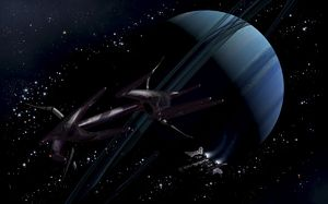 A chartered private corvette being intercepted by a strange alien craft