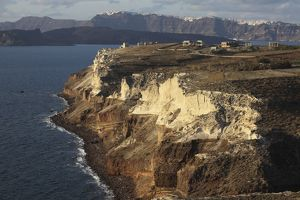 Cliffs of Cape Apronisi covered with tuff deposits from the Minoan Eruption of Santorini