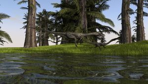 Two Coelophysis dinosaurs running along the edge of swampy water