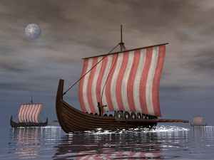 Drekar Viking ships navigating the ocean at night