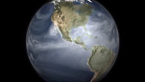 Full Earth view showing water vapor over the Americas