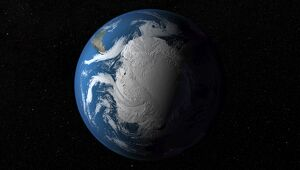 Ful Earth showing simulated clouds over Antarctica