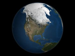A global view over North America with Arctic sea ice