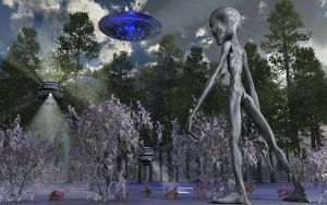 A Grey Alien researcher exploring woodlands