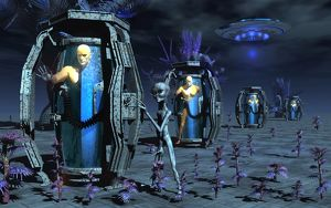 Grey Aliens awaking humanoid clones in bio-transport containers
