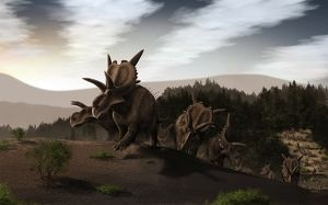 Herd of Xenoceratops foremostensis from the Cretaceous Period