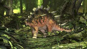 Kentrosaurus in a prehistoric forest