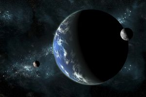 A large water covered planet with two moons alone in deep space