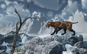 A lone Sabre-Toothed Tiger in a cold Pleistocene winter landscape